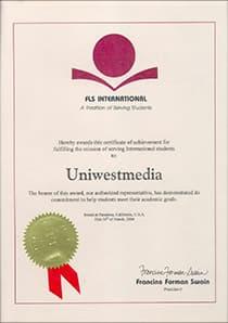 Сертификат ЮниВестМедиа