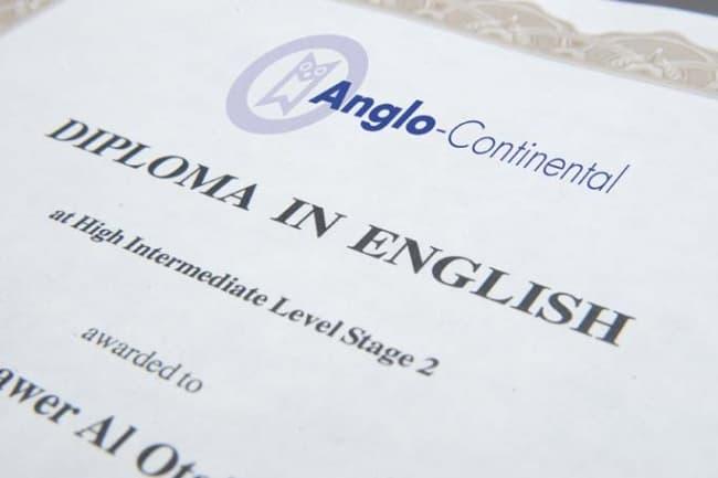 Диплом школы Anglo-Continental